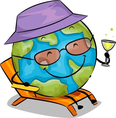cartoonize: Illustration of an Earth Mascot Holding a Glass of Wine