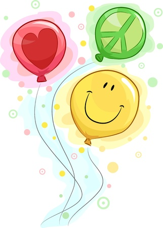 peace and love: Illustration of Colorful Balloons Symbolizing Peace, Love, and Happiness Stock Photo