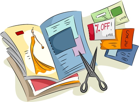 frugality: Illustration of Discount Coupons Cut from Magazines
