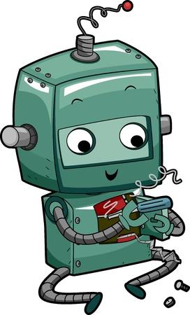 Illustration of a Green Robot Fixing Itself illustration