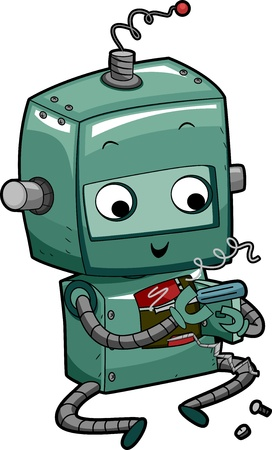 troubleshoot: Illustration of a Green Robot Fixing Itself Stock Photo
