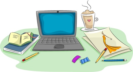 net book: Illustration of a Workstation Featuring a Laptop, Notebooks, Pencils, Scraps of Paper, and a Cup of Coffee