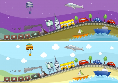 modes: Banner Illustration Featuring Different Modes of Transportation Stock Photo