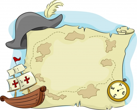 galleon: Illustration of an Old Map with a Compass and an Old Ship on Its Sides Stock Photo
