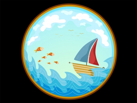 peephole: Illustration Featuring the Telescopic View of a Sailboat on Water Stock Photo