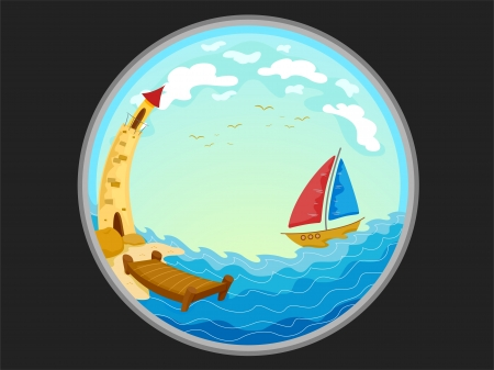 fisheye: Illustration Featuring the Telescopic View of a Boat and a Lighthouse Stock Photo