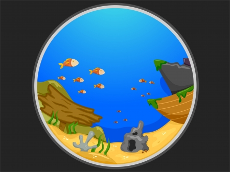 peephole: Illustration Featuring the Telescopic View of an Underwater Scene Stock Photo