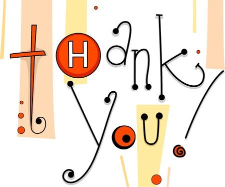 red cards: Illustration of a Thank You Card with Button Designs