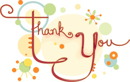 thank you: Illustration of a Thank You Card with Circular Designs Stock Photo