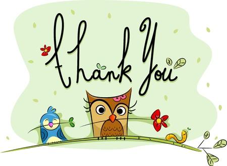 merci: Illustration d'une carte de remerciement avec des oiseaux dans l'arri�re-plan