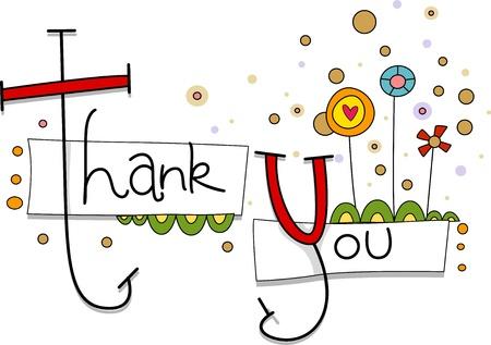 gratitudine: Illustrazione di un biglietto di ringraziamento con fiori capricciosi in Background