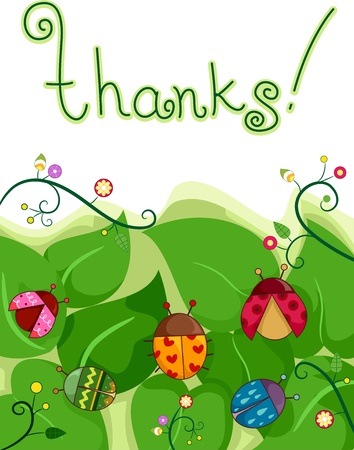 Illustration of a Thank You Card with Ladybugs and Leaves in the Background illustration