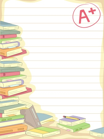 excellent background: Background Illustration of a Stack of Books with an A+ Mark on the Side