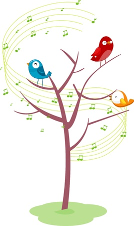 perched: Illustration of Birds Singing While Perched on a Tree Stock Photo