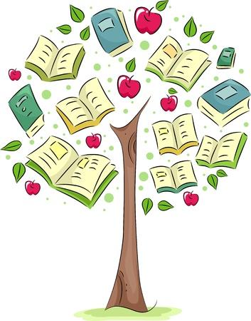 albero di mele: Illustrazione di un albero con i libri per le foglie Archivio Fotografico