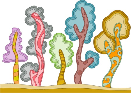 squiggly: Illustration of Trees with a Wobbly Design