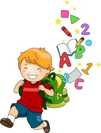 schooler: Illustrazione di un felice scuola ragazzo con uno zaino pieno di ABC e 123 del Archivio Fotografico