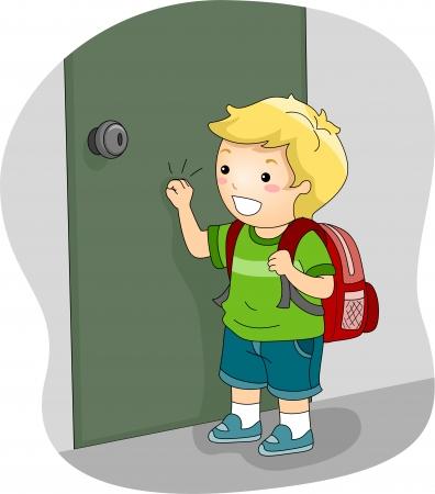 courtoisie: Illustration d'un gar�on frapper � la porte Banque d'images