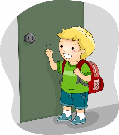 Illustration of a Boy Knocking on a Door illustration