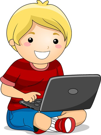 Illustration of a Boy Sitting on the Ground using a Laptop  Stock Illustration - 18146300