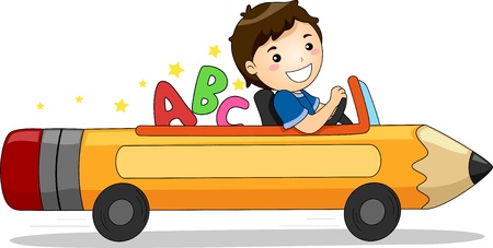 Illustration of a Smiling Boy Driving a Pencil-like Car with ABC at the backseat
