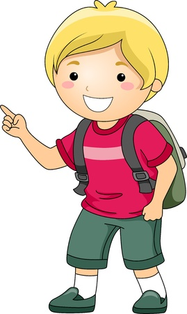 Illustration of a Smiling Student Boy Pointing His Fingers  illustration