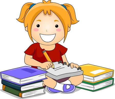 pencil writing: Illustration of Kid Girl Writing notes with books on her side