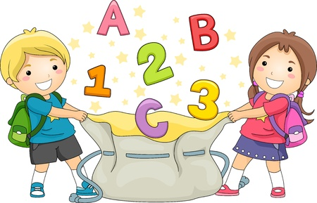 grade schooler: Illustration of Boy and Girl Kids holding a large bag catching ABCs and 123s