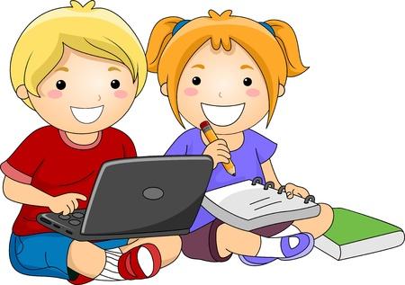 computadora caricatura: Ilustración de los niños que estudian con el uso de la computadora portátil, cuaderno, lápiz y el libro