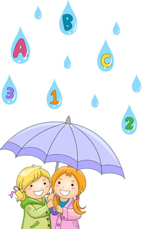 abc's: Illustration of Kids under an umbrella while Raining ABCs and 123s