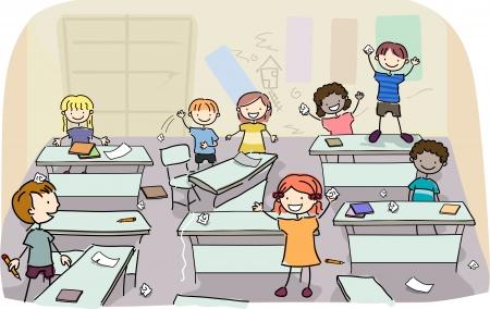 desorden: Ilustración de los niños del palillo haciendo lío en el aula Foto de archivo