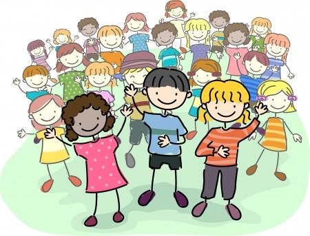 silhouette femme: Illustration de Kids Memory Stick t�te d'une foule