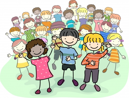 grade schooler: Illustration of Stick Kids Leading a Crowd Stock Photo