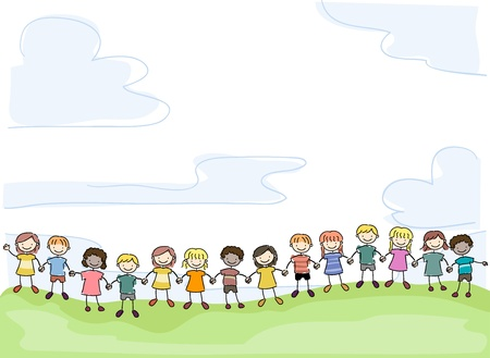 Illustration of Smiling Stick Kids Holding Hands in Unity Stock Photo