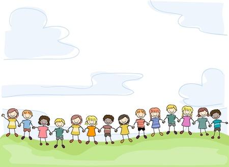 grade schooler: Illustration of Smiling Stick Kids Holding Hands in Unity Stock Photo