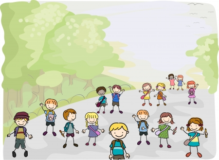 early education: Illustration of Stick Kids on their way going to School