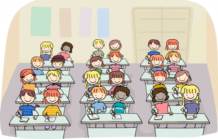 schooler: Illustration of Stick Kids in a Writing Class Stock Photo