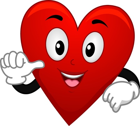 heart suite: Illustration of Card Suite Heart Mascot