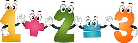 Illustration of Mascot Numbers performing an Additon Formula