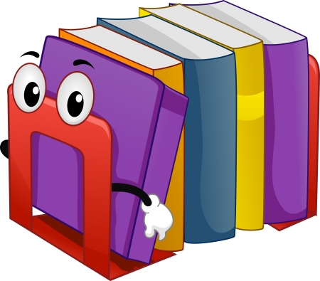 Illustration of Mascot Bookend with Books illustration