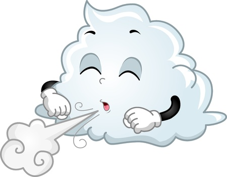 breezy: Illustration of Wind-blowing Mascot Cloud  Stock Photo