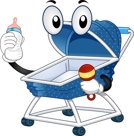 cartoonize: Illustration of a Mascot Baby Stroller holding a Feeding Bottle on one hand and a Baby Rattle on the other Stock Photo