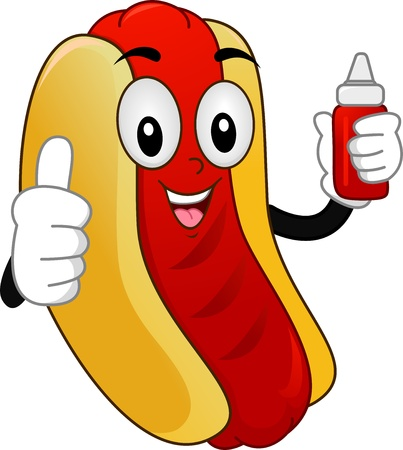 cartoonize: Illustration of a Mascot  Hotdog Sandwich with showing a Thumbs-Up and holding a Squeeze Bottle of Catsup