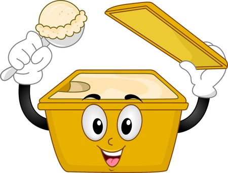 Illustration of Mascot Ice Cream with an Open Lid and holding an Ice cream Scoop illustration
