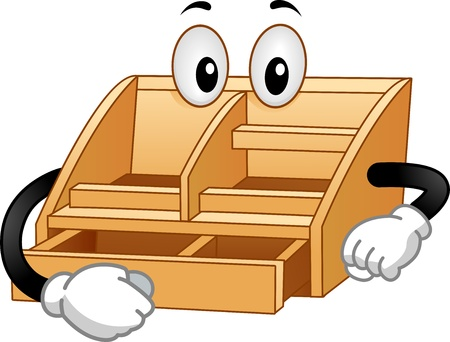 orderly: Illustration of a Wooden Desktop Valet Mascot opening a drawer Stock Photo