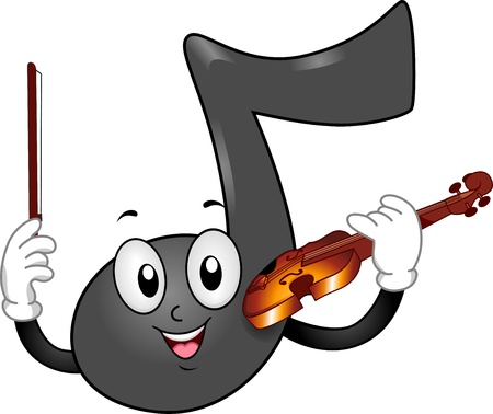 anthropomorphic: Illustration of a Music Note Mascot holding a Violin and Bow Stock Photo