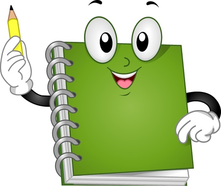 Illustration of a Spiral Notebook Mascot raising up a Pencil illustration