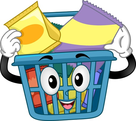 receptacle: Illustration of a Shopping Basket Mascot holding some Snacks inside Stock Photo