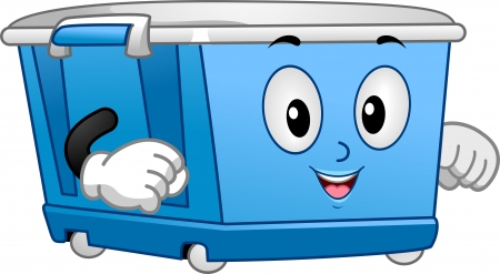 storage bin: Illustration of a Blue Wheeled Storage Bin Mascot