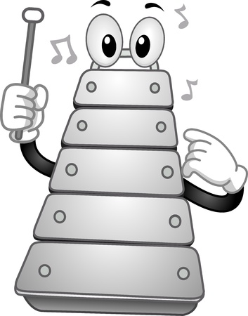 xylophone: Illustration of a Xylophone Mascot holding a percussion mallet